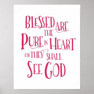 Poster Blessed sont la pure en affiche de coeur