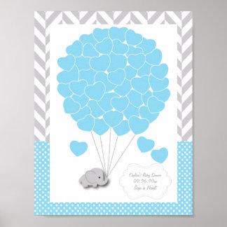 Poster Bleu, baby shower gris blanc 2 d'éléphant - invité