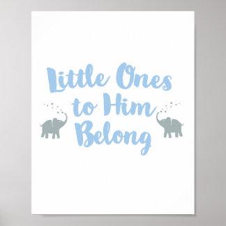 Poster Bleu chrétien de l'affiche | de crèche d'éléphants
