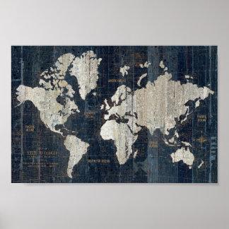 Poster Bleu de carte de Vieux Monde