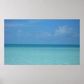Poster Bleu de turquoise tropical d'horizon des Caraïbes
