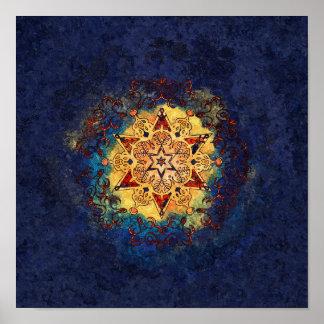 Poster Bleu d'éclat d'étoile et copie d'affiche d'or