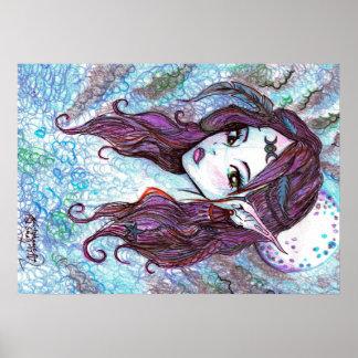Poster Bleu lunaire de magicien de sorcière de déesse