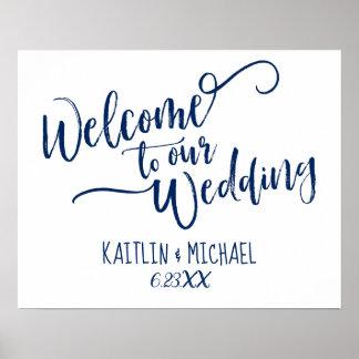 Poster Bleu marine épousant le signe bienvenu -