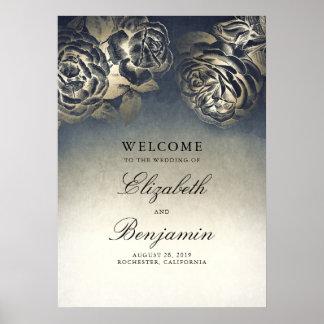 Poster Bleu marine et signe bienvenu de mariage floral