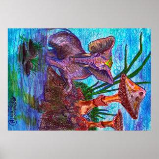 Poster Bleu miniature de magicien de champignon magique