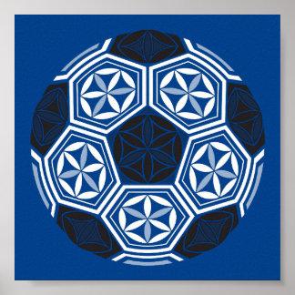 Poster bleu sacré de la géométrie du football