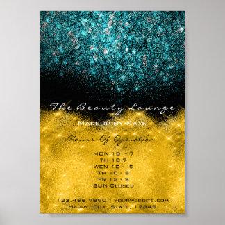 Poster Bleu turquoise de confettis blancs de noir d'or