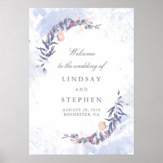 Poster Bleus poussiéreux et rougissent épousant le signe