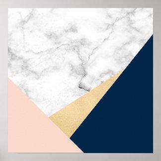 Poster bloc bleu de couleur de pêche de marbre blanche