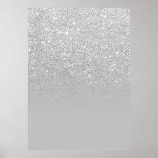 Poster Bloc gris de couleur de faux d'argent d'ombre à la