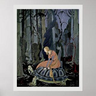 Poster Blondine et l'illustration de conte de fées de