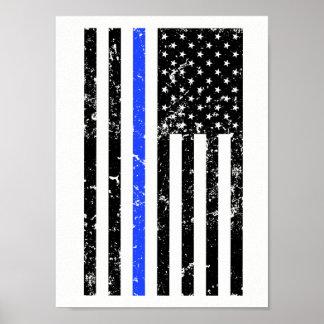 Poster Blue Line mince - policier - affiche de drapeau