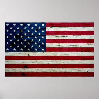 Poster Bois affligé par cool de drapeau américain