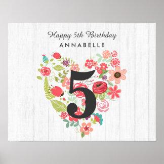 Poster Bois blanc chic et joyeux anniversaire floral