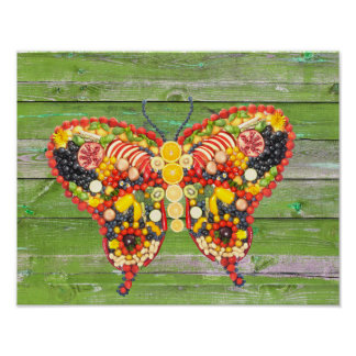 Poster bois de vert de papillon de veggieart