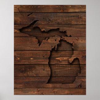 Poster Bois du Michigan Brown découpé