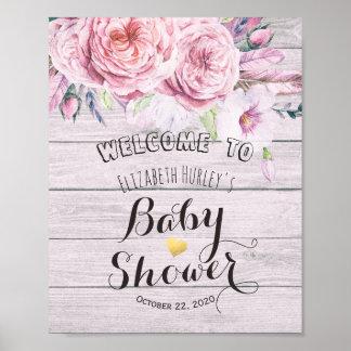 Poster Bois rustique floral d'aquarelle bienvenue de baby