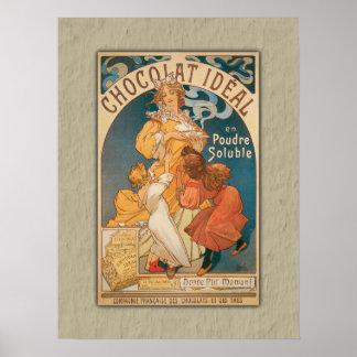 Poster Boisson française vintage idéale de chocolat