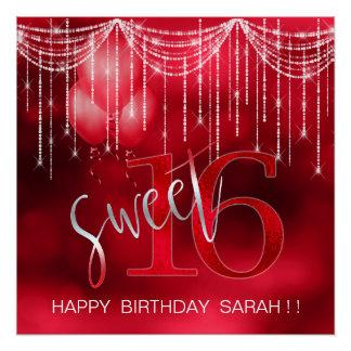 Poster Bonbon 16 ID473 rouge à lumières et à ballons de