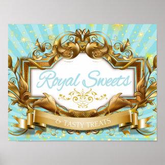 Poster Bonbons royaux et bleu de festins et signe