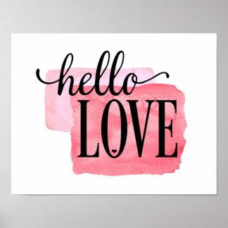 Poster Bonjour amour - copie moderne de citation d'amour