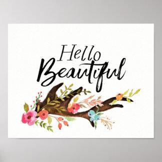 Poster Bonjour bel Antler et fleurs
