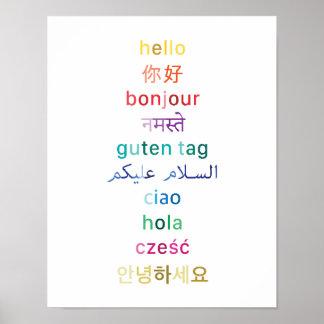 """Poster """"Bonjour"""" de partout dans le monde - affiche 11x14"""