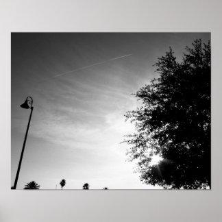 Poster Bonjour - photo noire et blanche de ciel