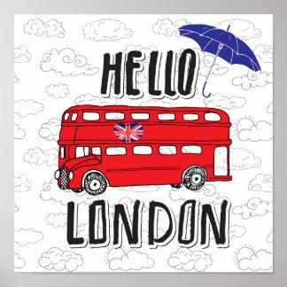 Poster Bonjour signe en lettres de main de Londres | avec