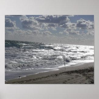 Poster Bord de la mer de pêche de plage
