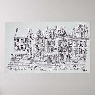 Poster Bord de mer flamand d'architecture, Gand, Belgique