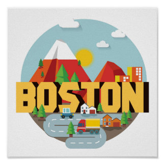 Poster Boston comme destination