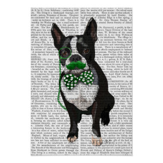 Poster Boston Terrier avec la moustache verte