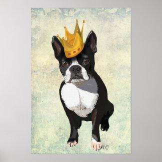 Poster Boston Terrier et couronne