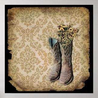 Poster Bottes de cowboy de pays occidental de fleur