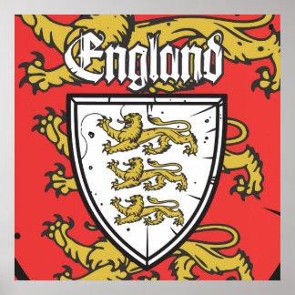 Poster Bouclier de lions de l'Angleterre trois