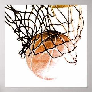 Poster Boule de basket-ball de Brown et affiche carrées