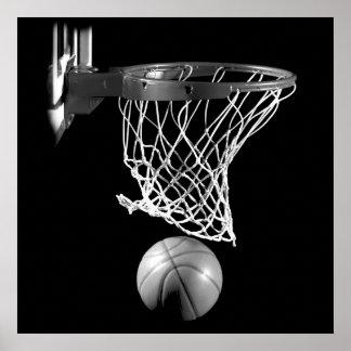 Poster Boule et filet de basket-ball de carré noir et
