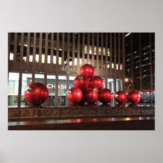 Poster Boules rouges centrales de Noël de Rockefeller New