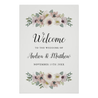 Poster Bouquet d'anémone épousant le signe bienvenu