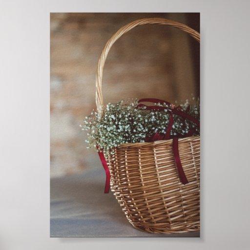 Poster Bouquet dans panier d'osier