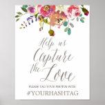 Poster Bouquet floral simple d'aquarelle épousant Hashtag