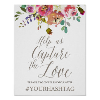 Poster Bouquet floral simple d'aquarelle épousant Hashtag