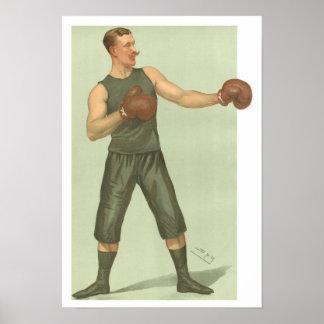 Poster Boxeur vintage avec des troncs de long vert