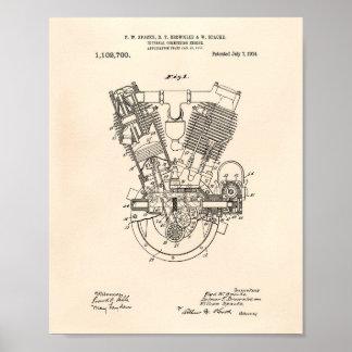 Poster Brevet interne vieux Peper du moteur à combustion