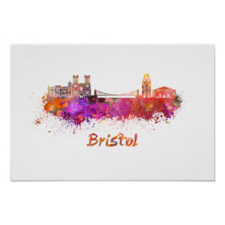 Poster Bristol skyline in watercolor
