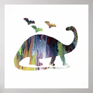 Poster Brontosaure et battes