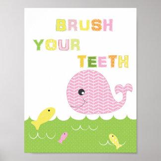 Poster Brosse d'art de salle de bains de filles d'enfants