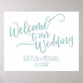 Poster Brosse épousant la turquoise légère bienvenue du